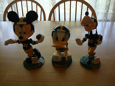 Pittsburgh Steelers Mickey Mouse Goofy Donald Duck Bobblehead Disney lot