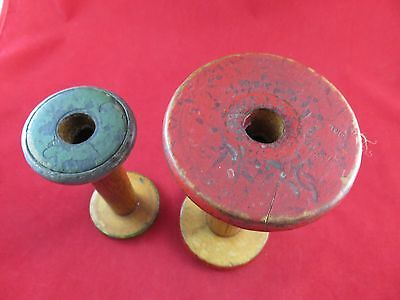 "Wooden Spools Very Vintage Red Top & Bottom 8"" Green Top &Bottom Green"