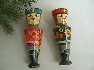 2 antique wooden miners, hand painted from Erzgebirge germany CHRISTMAS ORNAMENT