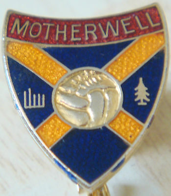 MOTHERWELL FC Vintage badge Maker COFFER LONDON Brooch pin In gilt 20mm x 25mm