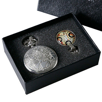 Silver Retro Vintage Doctor Who Necklace Pendant Pocket Watch Set+Gift Box Men