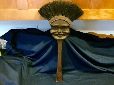 Old Carved Wood Figural Face ie Wind 4 Seasons Spooky Broom Fireplace Mop Plaque