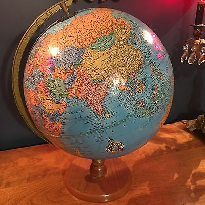 Vintage Cram's Imperial World Globe Nice Wooden Stand! Library Study Decoration