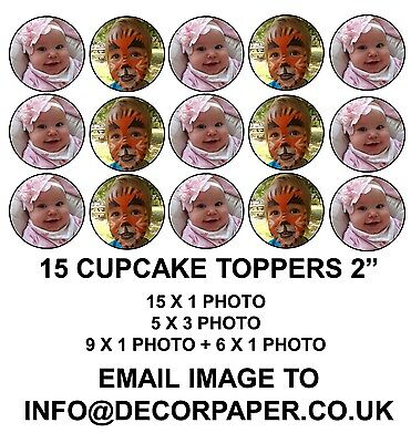 Your Own Personalised Photo/image 15 X 2 Inch Pre Cut Cupcake Toppers
