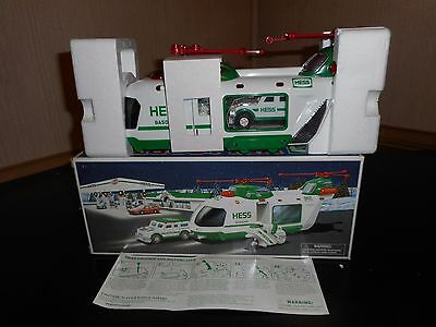 Hess Truck 2001 Helicopter W/motorcycle & Cruiser In Mint Condition