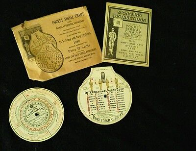 Vintage 1918 Army and Navy Pocket Signal Chart & Cipher Disk original package