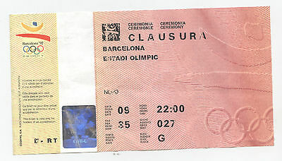 Orig.Ticket     Olympic Games BARCELONA 1992  -  CLOSING CEREMONY  !!  RARITY