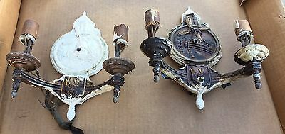 2 Vintage Dutch Windmill 1930s 2 Light Wall Sconces Ornate Cast Aluminum