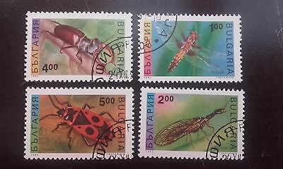 4 Timbres Bulgarie Stamp Bulgaria Insectes 1993 Insect