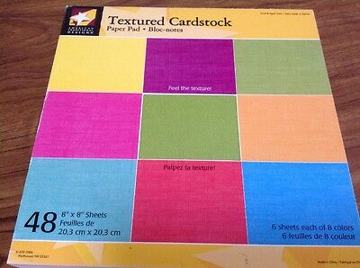 "Textured Cardstock - Various Colours - 8"" X 8""- 48 Sheets"
