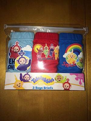 BNIP 3 Pack Boys Teletubbies  Pants Underpants Briefs Sz 18-24 Month 100% Cotton