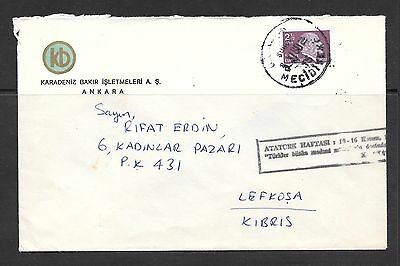Turkey Cover Posted to Lefkosa Kibris Cyprus 1980