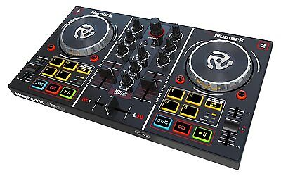 Party Mix Starter DJ Controller with Built-In Sound Card Light Show VJ Software