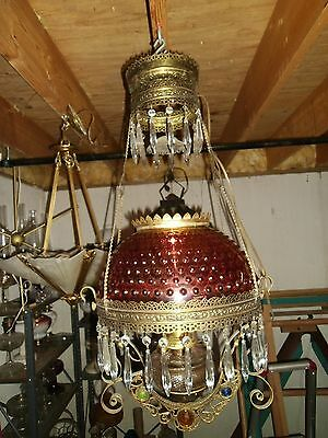 c1900 Antique RETRACTABLE HANGING OIL LAMP Cranberry Hobnail Shade Prisms Nice!