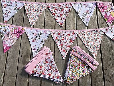 Bunting Vintage Floral Mix Wedding Shabby Chic Cottage Excellent Quality 9ft