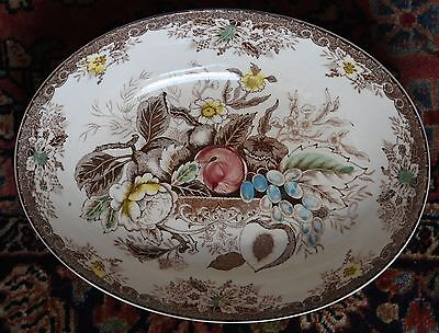 """VNTG SERVING FRUIT BOWL OVAL JAPAN BROWN TRANSFERWARE HAND PAINTED 10.5""""L x 8"""" W"""