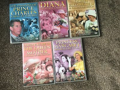 Royal Family DVDs X 5 Diana Charles Queen Mother Margaret - Xmas Presents ��