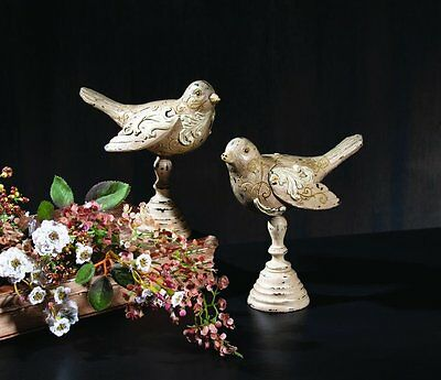Two Birds on Pedestals w/ Vintage Distressed Finish – Figurines