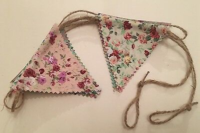 Bunting - Mixed Floral Vintage Beautiful Shabby Chic Rustic String Detail 6ft
