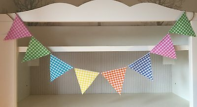 Bunting - Gingham Mixed Bright Colourful Shabby Chic Rustic DBL Sided Fabric 6ft