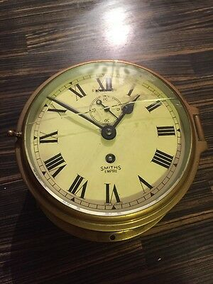 Vintage Smiths Empire 8 Day Brass Ships Clock.