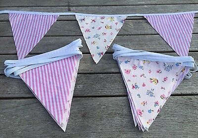 Bunting Pink Candy Stripe Floral Shabby Chic Decoration Celebration Party 9ft