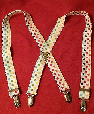 NEW 2T-3T Suspenders white rainbow polka dots baby toddler unisex Easter wedding