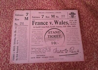 Rare Welsh Rugby Union memorabilia. France v Wales 1925 unused ticket