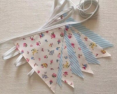 Wedding Bunting -  Vintage Shabby Chic Cottage Blue Candy Stripe Floral Mix 10ft