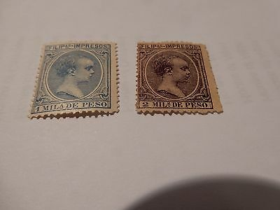 Philippines - Spanish Administration, Fine hinged, Baby - 1 & 2 Peso