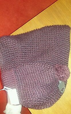 Linea sparkly burgundy chunky knit snood and hat