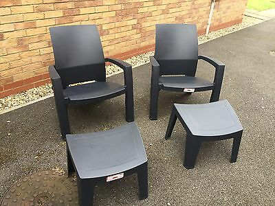 2 x Garden Chairs With Footstools,