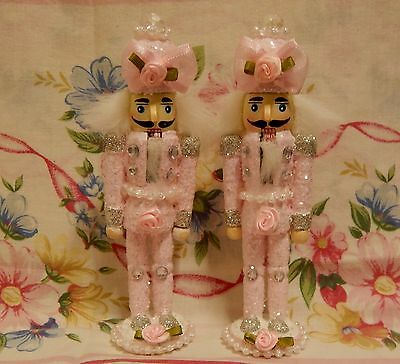 2 Shabby Chic Pink Romantic Christmas Nutcrackers Roses Pearls Bows Glitter HM~