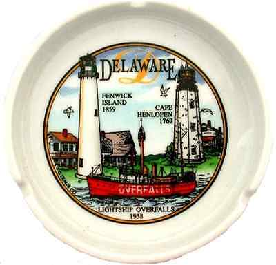 """Delaware  souvenirs  ashtray / 5"""" Round - Delaware Lighthouse"""