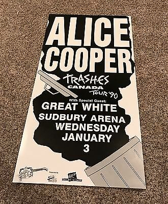 Alice Cooper Trashes Canada 1990 Concert Tour Poster Jan. 3 Great White 35.5x18