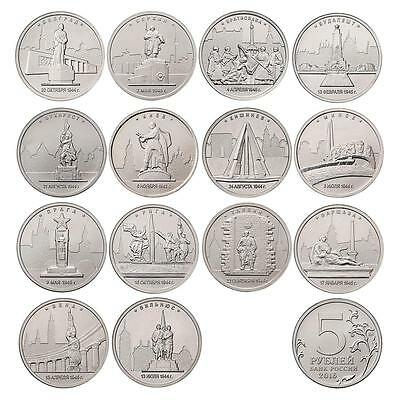A SET OF 14 COINS Russia 2016 the Capital city of the liberated States, 5 rubles