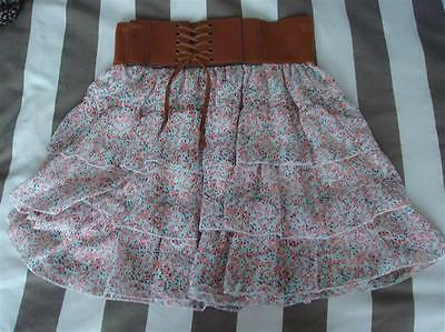 Girls Bnwt New Look Floral Ruffle Skirt Age 10/11 Years