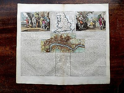 c1710 Chatelain England London Town Plan Antique Map Old French Original Prints
