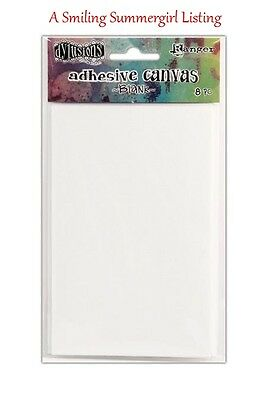 8pc Blank Adhesive Backed Canvas Sheets Paint, Stamp, Stencil Use in Collage Art