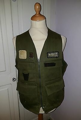 Vintage Barbour Waistcoat Green Shooting Gilet International Tank Large 44
