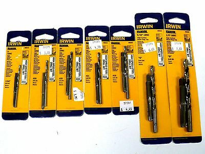 New 7 Sets IRWIN HANSON Taps & HSS Drill Bit -Combo Pack - Free Shipping