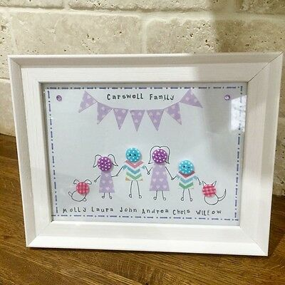 Homemade Personalised Family Button Frame.Birthday Wedding Anniversary Baby Gift
