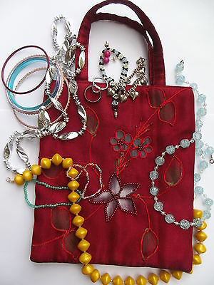 Beaded Bag With Mixed Lot Girls Jewellery - Necklaces, Bracelets, Rings, Etc.