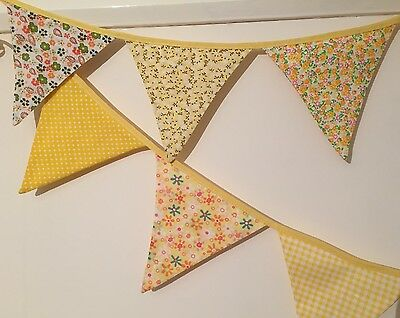 Bunting - Yellow Floral Gingham Polka  Shabby Chic Vintage Beautiful 10ft