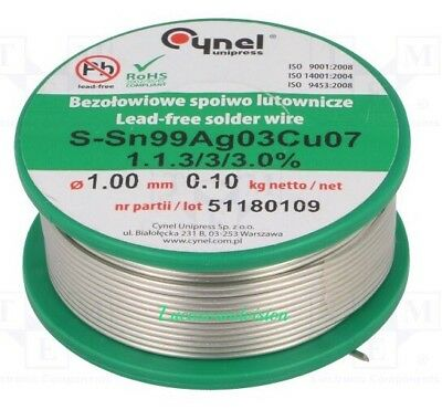 HQ Cynel Tin Lead 97/3 S Flux Multicored SILVER Solder Wire 100g Reel