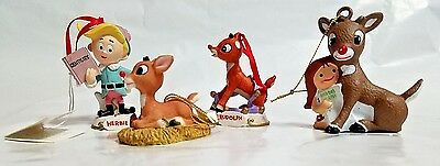 Lot of 4  Rudolph The Red Nosed Reindeer Christmas Tree Ornaments