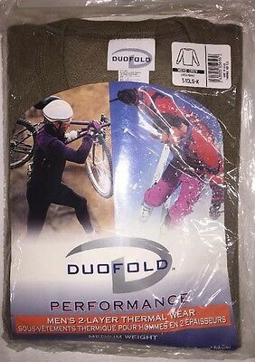 Duofold Performance Men's  2 Layer Thermal Wear Crewneck Top Brown Poly Sz Large