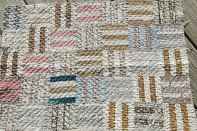Antique Patchwork Rail Fence Quilt Early Blue Madder Brown Piece