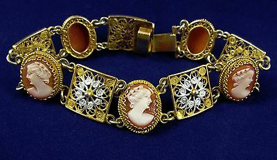 800 Sterling Silver Filigree Gold Wash Carved Shell Italian Cameo Bracelet 7""