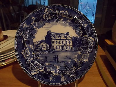 Historical Blue Wedgwood Collector Plate-THE GREEN DRAGON TAVERN, BOSTON MA